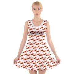 Custom V Neck Sleeveless Dress   Snatch Orange