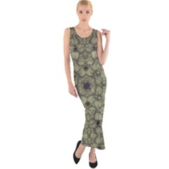 Stylized Modern Floral Design Fitted Maxi Dress by dflcprints