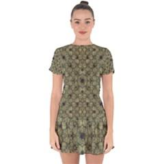 Stylized Modern Floral Design Drop Hem Mini Chiffon Dress by dflcprints