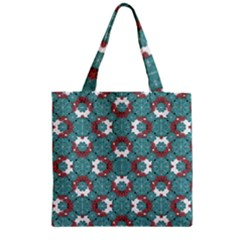 Colorful Geometric Graphic Floral Pattern Zipper Grocery Tote Bag by dflcprints