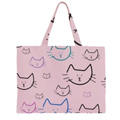 Cat Pattern Face Smile Cute Animals Beauty Zipper Large Tote Bag by Mariart