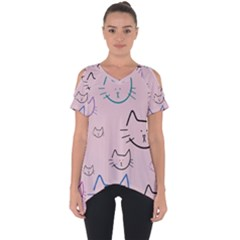 Cat Pattern Face Smile Cute Animals Beauty Cut Out Side Drop Tee