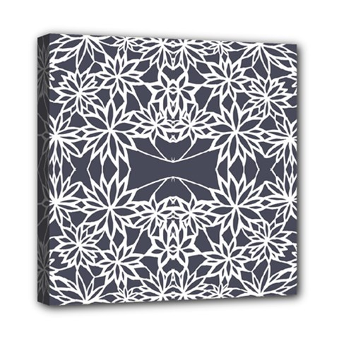 Blue White Lace Flower Floral Star Mini Canvas 8  X 8  by Mariart