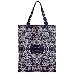 Blue White Lace Flower Floral Star Zipper Classic Tote Bag by Mariart