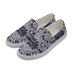 Blue White Lace Flower Floral Star Women s Canvas Slip Ons by Mariart