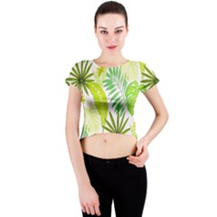Amazon Forest Natural Green Yellow Leaf Crew Neck Crop Top by Mariart