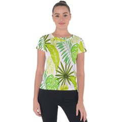 Amazon Forest Natural Green Yellow Leaf Short Sleeve Sports Top