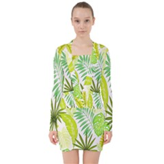 Amazon Forest Natural Green Yellow Leaf V Neck Bodycon Long Sleeve Dress by Mariart