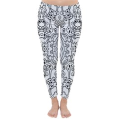 Black Psychedelic Pattern Classic Winter Leggings by Mariart