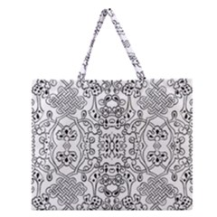 Black Psychedelic Pattern Zipper Large Tote Bag by Mariart