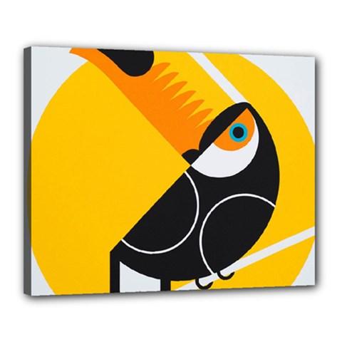 Cute Toucan Bird Cartoon Yellow Black Canvas 20  X 16  by Mariart