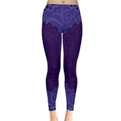 Flower Floral Sunflower Blue Purple Leaf Wave Chevron Beauty Sexy Leggings  by Mariart