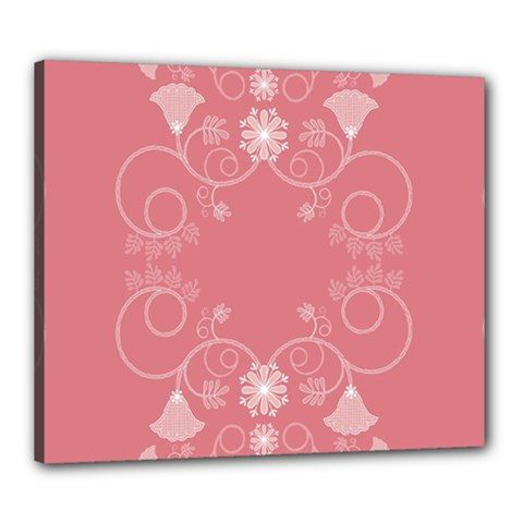 Flower Floral Leaf Pink Star Sunflower Canvas 24  X 20  by Mariart