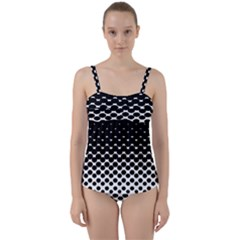 Gradient Circle Round Black Polka Twist Front Tankini Set