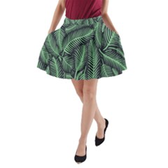 Coconut Leaves Summer Green A Line Pocket Skirt by Mariart