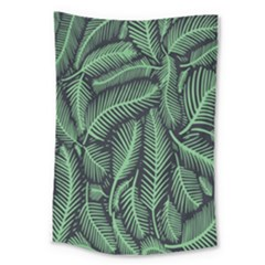 Coconut Leaves Summer Green Large Tapestry by Mariart