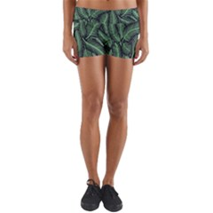 Coconut Leaves Summer Green Yoga Shorts by Mariart
