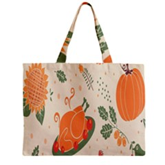 Happy Thanksgiving Chicken Bird Flower Floral Pumpkin Sunflower Zipper Mini Tote Bag by Mariart