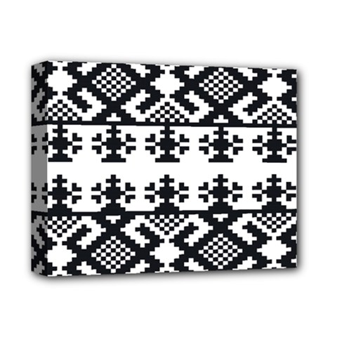 Model Traditional Draperie Line Black White Triangle Deluxe Canvas 14  X 11  by Mariart