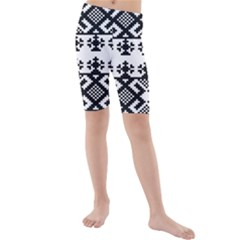 Model Traditional Draperie Line Black White Triangle Kids  Mid Length Swim Shorts by Mariart