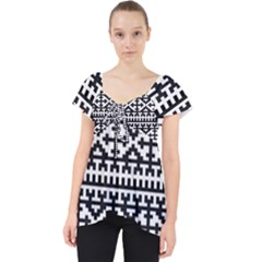 Model Traditional Draperie Line Black White Lace Front Dolly Top