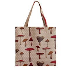 Mushroom Madness Red Grey Brown Polka Dots Zipper Grocery Tote Bag by Mariart