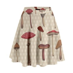 Mushroom Madness Red Grey Brown Polka Dots High Waist Skirt by Mariart