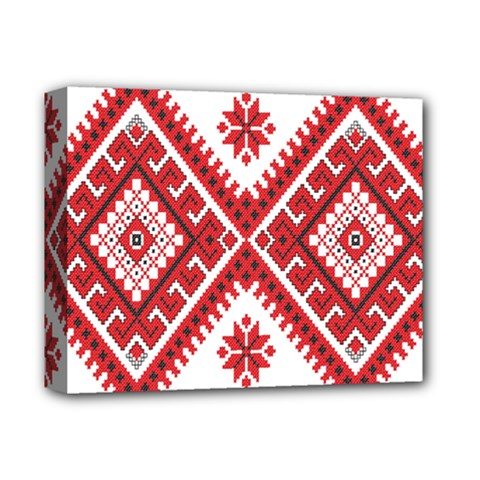 Model Traditional Draperie Line Red White Triangle Deluxe Canvas 14  X 11  by Mariart