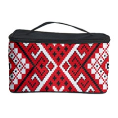 Model Traditional Draperie Line Red White Triangle Cosmetic Storage Case by Mariart