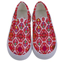 Plaid Red Star Flower Floral Fabric Kids  Canvas Slip Ons