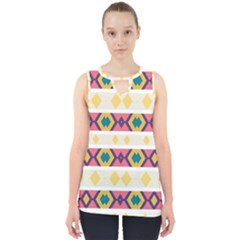 Rhombus And Stripes                            Cut Out Tank Top