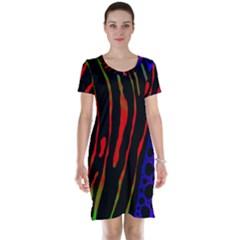 Frog Spectrum Polka Line Wave Rainbow Short Sleeve Nightdress by Mariart