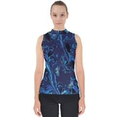 Pattern Butterfly Blue Stone Shell Top