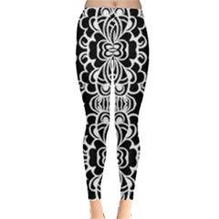 Psychedelic Pattern Flower Black Leggings  by Mariart