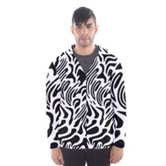 Psychedelic Zebra Black White Line Hooded Wind Breaker (men) by Mariart