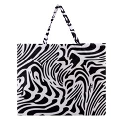 Psychedelic Zebra Black White Line Zipper Large Tote Bag by Mariart
