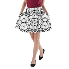 Psychedelic Pattern Flower Crown Black Flower A Line Pocket Skirt by Mariart