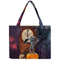 Funny Mummy With Skulls, Crow And Pumpkin Mini Tote Bag by FantasyWorld7
