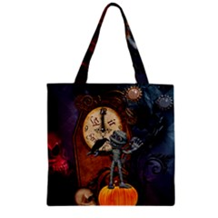 Funny Mummy With Skulls, Crow And Pumpkin Zipper Grocery Tote Bag by FantasyWorld7