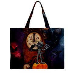 Funny Mummy With Skulls, Crow And Pumpkin Zipper Mini Tote Bag by FantasyWorld7