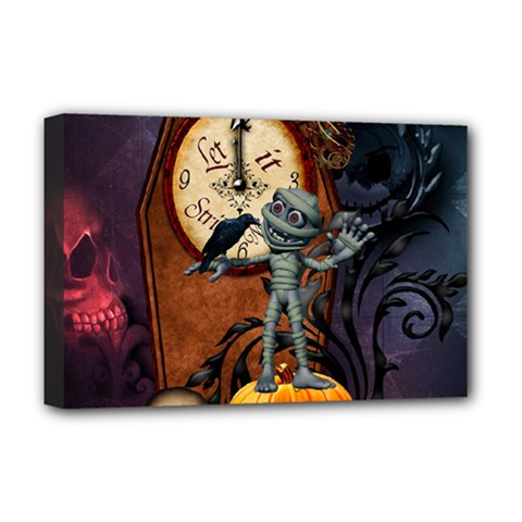 Funny Mummy With Skulls, Crow And Pumpkin Deluxe Canvas 18  X 12   by FantasyWorld7