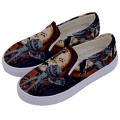 Funny Mummy With Skulls, Crow And Pumpkin Kids  Canvas Slip Ons by FantasyWorld7