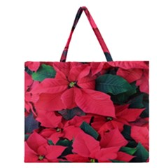 Red Poinsettia Flower Zipper Large Tote Bag by Mariart