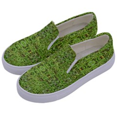 Digital Nature Collage Pattern Kids  Canvas Slip Ons by dflcprints