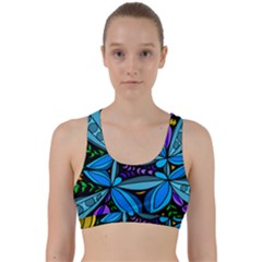 Star Polka Natural Blue Yellow Flower Floral Back Weave Sports Bra by Mariart