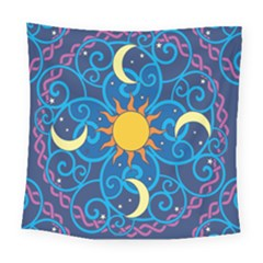 Sun Moon Star Space Vector Clipart Square Tapestry (large) by Mariart