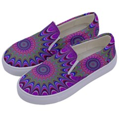 Art Mandala Design Ornament Flower Kids  Canvas Slip Ons by BangZart