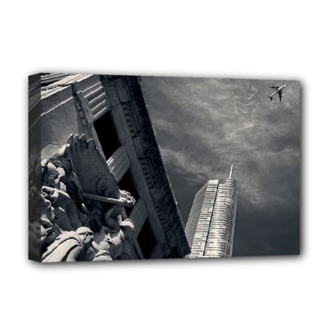 Chicago Skyline Tall Buildings Deluxe Canvas 18  X 12   by BangZart