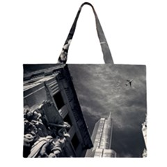 Chicago Skyline Tall Buildings Zipper Large Tote Bag by BangZart