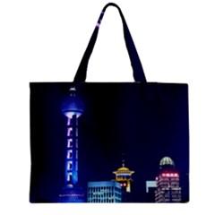 Shanghai Oriental Pearl Tv Tower Zipper Medium Tote Bag by BangZart